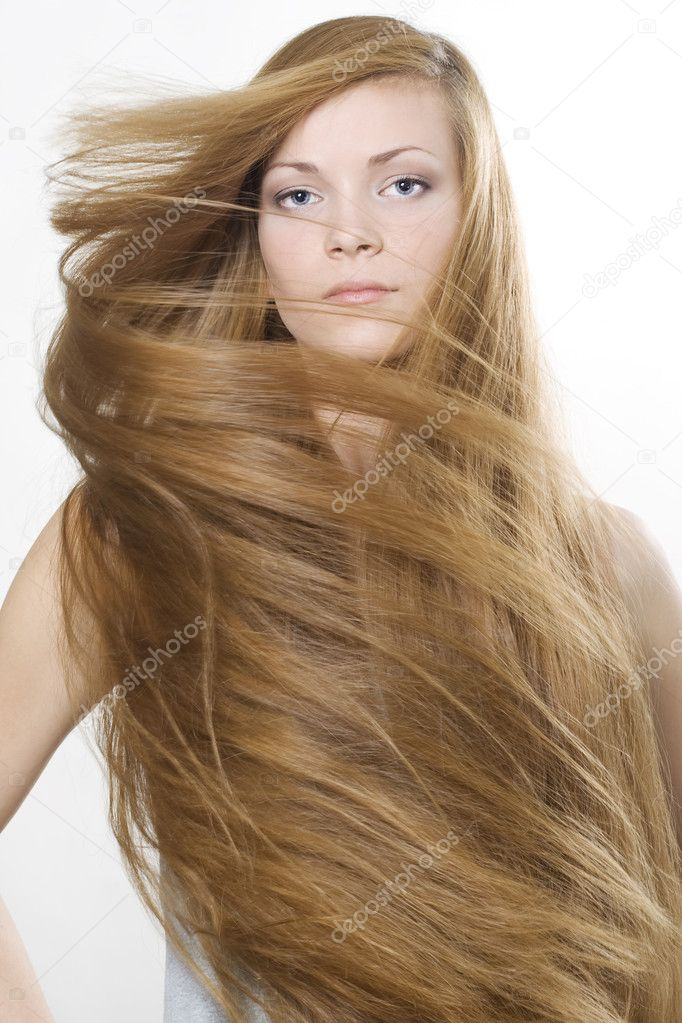 Fashion photo of beautiful woman with magnificent long blond hair  — Stock Photo #3021847