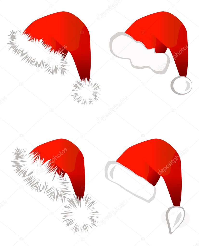 Set of Santa Claus hats isolated on white background. Vector illustration — Stock Vector #3801371