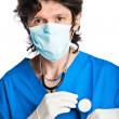 Paediatrician with stethoscope on white — Stock Photo
