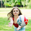 Attractive girl play with ball — Stock Photo