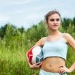 Attractive girl with volleyball ball — Stock Photo