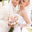 Happy young couple of bride and groom — Stock Photo #3549999