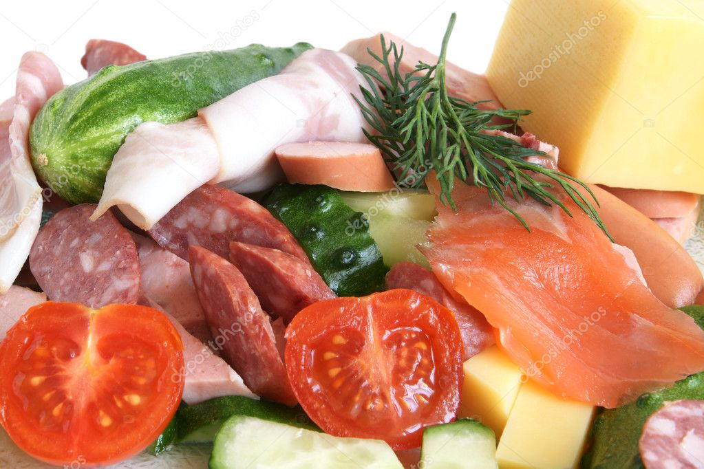 Close-up of cold cuts, fish, vegetables and cheese — Stock Photo #3023599
