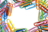 Multicolored paper clips — 图库照片