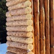 Stock Photo: Wooden log wall