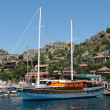 The yacht anchored in Kekova, Turkey — Stock Photo