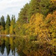 Beautiful forest lake in the autumn day - Stock Photo