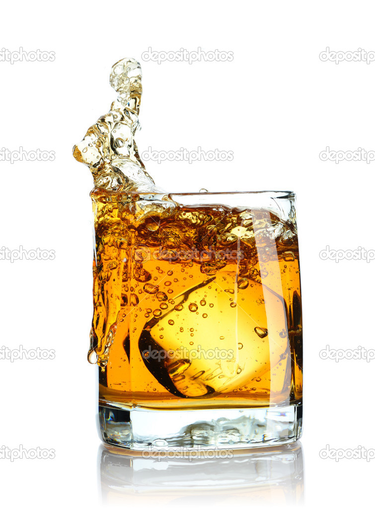 Ice cube splashing in scotch isolated on white — Stock Photo #3320134