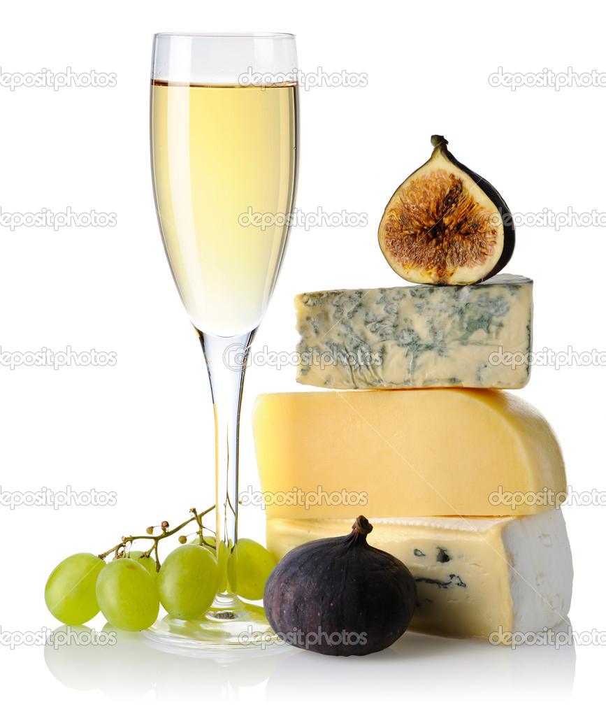 Cheese and white wine isolated on white background — Stock Photo #3755604