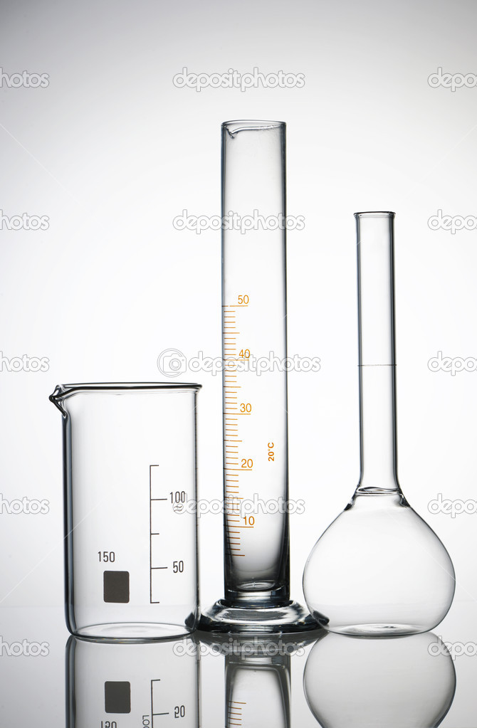 Chemical flasks over white background — Stock Photo #3830583