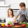Couple cooking — Foto Stock
