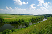 Russian landscape with river — Stock Photo