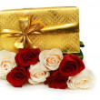 Giftbox and roses isolated — Stock Photo #2694948
