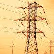 Toned image of  voltage power line — Stock Photo