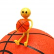 Smilie with basketball isolated — Stock Photo