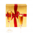 Giftbox and champagne isolated - Stock fotografie