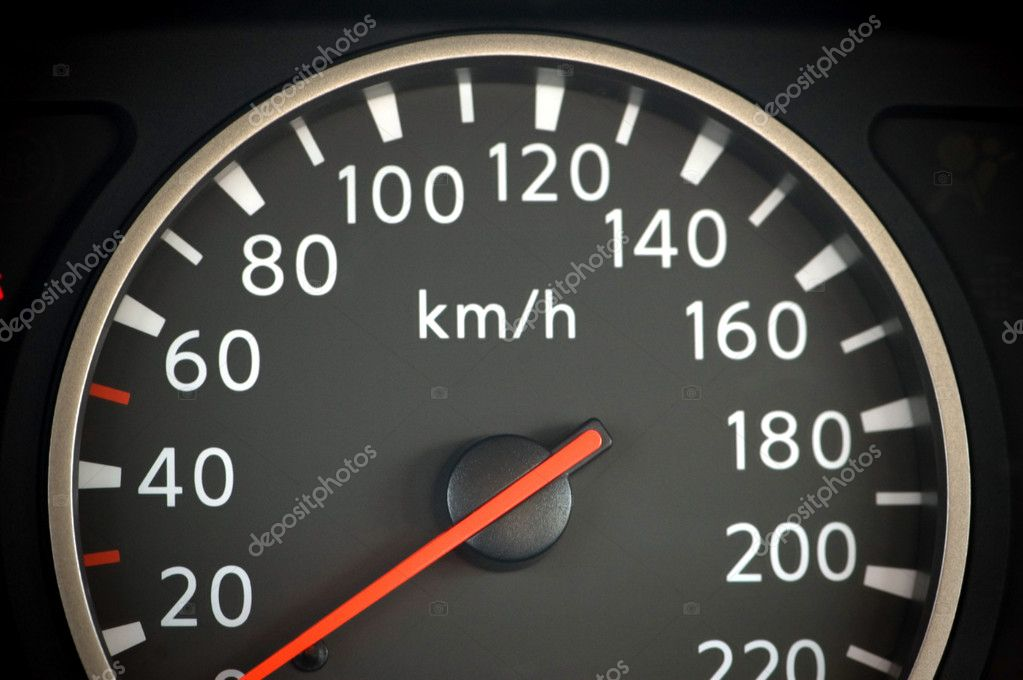 Close up of car speedometer