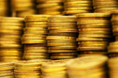 Close up of the golden coin stacks — Stockfoto