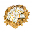 Dollars and coins isolated — Stock Photo