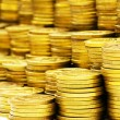 Close up of the golden coin stacks — Stock Photo #2874446