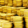 Close up of the golden coin stacks — Stock Photo