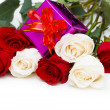 Stock Photo: Giftbox and roses isolated
