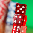 Stack of red casino dice — Stock Photo