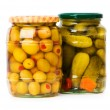 Pickled cucumbers and olives — Stock Photo