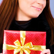 Young woman with red gift box — Stock Photo #2877939