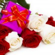 Giftbox and roses isolated — Stock Photo #2879108