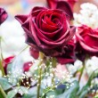 Stock Photo: Red roses and other flowers
