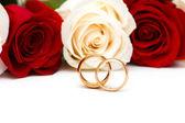 Rosas y anillos de boda aislados — Foto de Stock