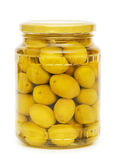 Pickled olives in glass jar — Stock Photo