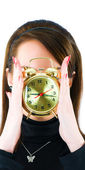 Woman with clock isolated on the white — Stock Photo