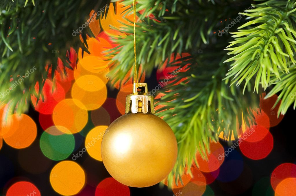 Christmas decoration and blurred lights at background  Stock Photo #2873916