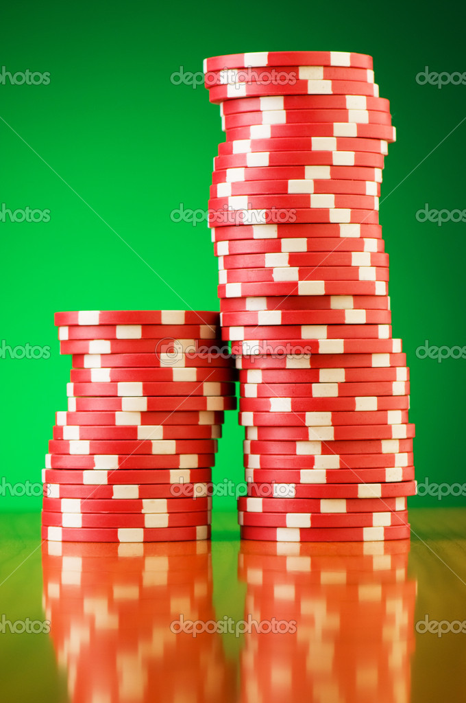 Stack of casino chips against gradient background — Stock Photo #2876687