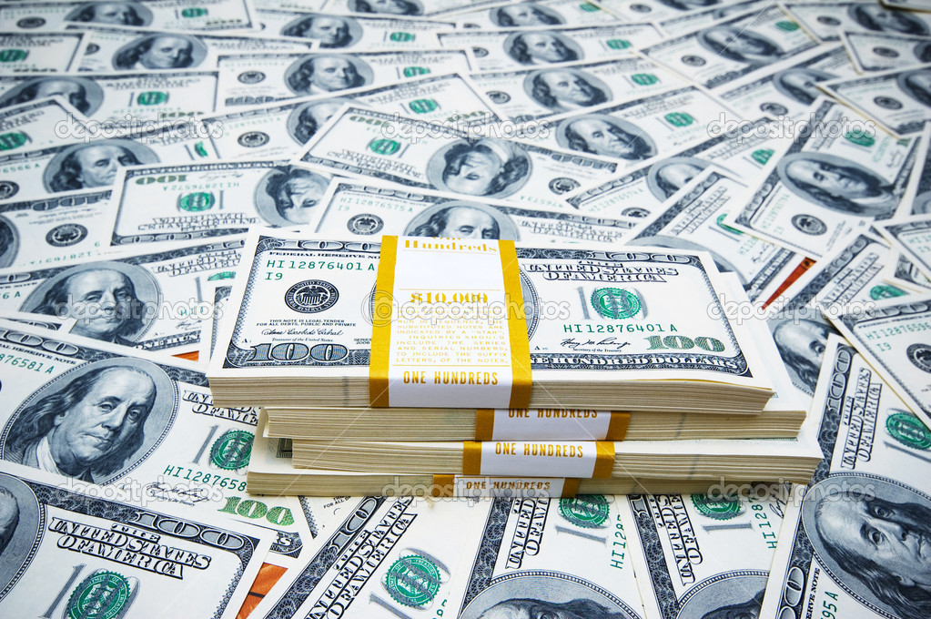 Stack of dollars on money background — Stock Photo #2877255