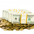 Dollars and coins isolated on the white — Stock Photo