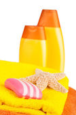 Colour terry towels, shampoo, soap and starfish — Stock Photo