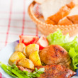 Cutlet with fried potato — Stock Photo