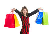 Young girl with purchases — Stock Photo