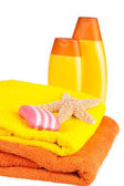 Colour terry towels, shampoo — Stock Photo