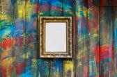 Frame on the painted wall — Zdjęcie stockowe