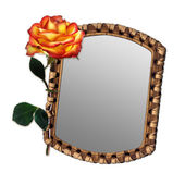 Old mirror with beautiful rose — Stock Photo