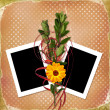 Card with bouquet on grunge background — Stock Photo