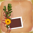 Card with bouquet on old grunge background — Stock fotografie