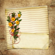 Card with bouquet on old grunge background — 图库照片