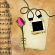 Stock Photo: Grunge paper with rose on musical background