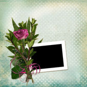 Frame with bouquet on grunge background — Stock Photo