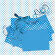 Blue sheets with bow polka dot background — Stock Photo